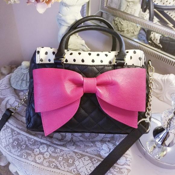 f058b826f301 Betsey Johnson Black Satchel W/Hot pink Bow